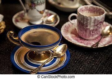 csésze, fából való, cooffe, sötét, finom, asztal.