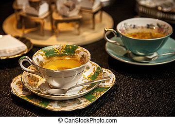 csésze, fából való, tea, sötét, finom, asztal.