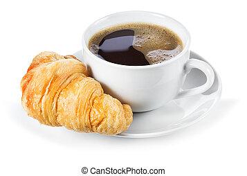 csésze kávécserje, és, croissant