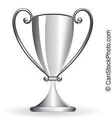 csésze, -, talpas pohár, ezüst, bajnok
