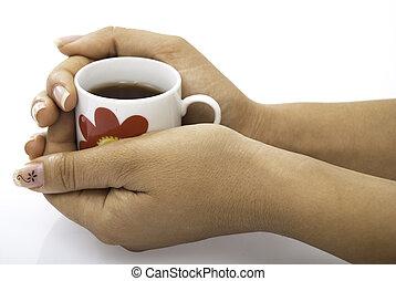 csésze tea, befolyás, alatt, kézbesít