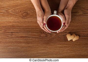 csésze, tea, womans, mens, csípős, hatalom kezezés