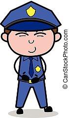 cséve, rendőr, -, ábra, vektor, kihasasodás nevet, retro