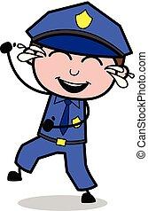 cséve, rendőr, móka, -, ábra, vektor, retro, nevető