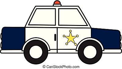 cséve, rendőrség, rendőr, autó, -, ábra, vektor, retro