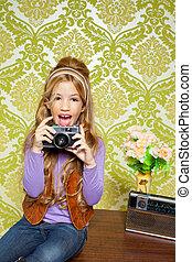csípő, retro, kicsi lány, lövés, fénykép, képben látható, szüret fényképezőgép