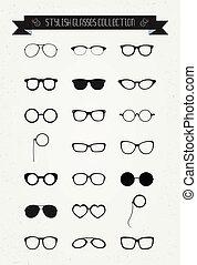 csípőre szabott, retro, szüret, szemüveg, ikon, állhatatos