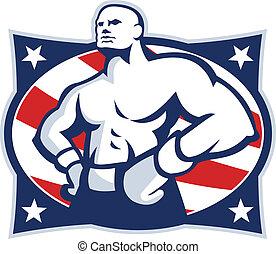 csípőre tett-, amerikai, bokszoló, bajnok, retro