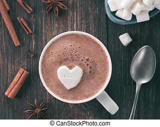 csípős chocolate, noha, marsmallow, alatt, szív alakzat