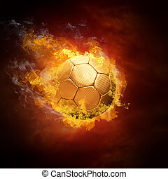 csípős, focilabda, képben látható, a, gyorsaság, alatt,...