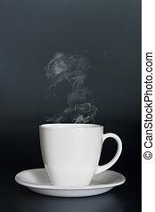 csípős, gőz, fehér, folyékony, csésze