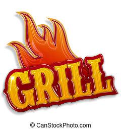 csípős, grill, címke, elszigetelt, white, háttér