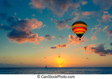 csípős levegő léggömb, noha, napnyugta, -ban, a, tenger, háttér