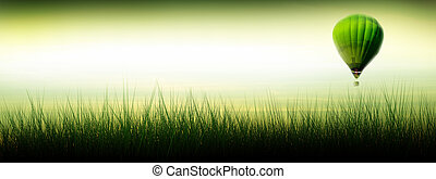 csípős levegő léggömb, repülés, -ban, napkelte