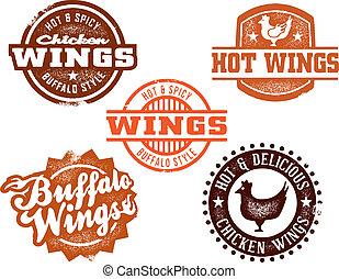 csípős, szárny, csirke, grafika