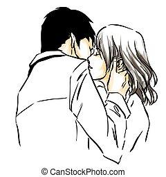 csípős, vektor, rajz, érzéki, csókol