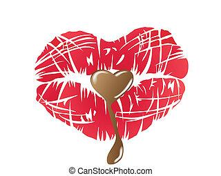 csókolózás, ajkak, csokoládé