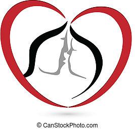csókolózás, szív, párosít, alakít, jel
