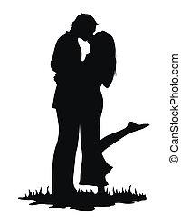 csókolózás, szerelmes pár