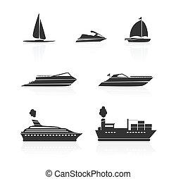 csónakázik, állhatatos, hajó, ikonok