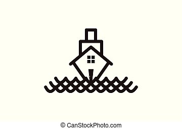 csónakázik épület, jel