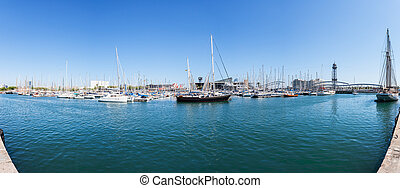 csónakázik, alatt, a, kikötő, közül, barcelona., panoráma