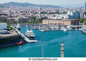 csónakázik, alatt, a, kikötő, közül, barcelona.