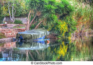 csónakázik, alatt, egy, tropikus, tengerpart