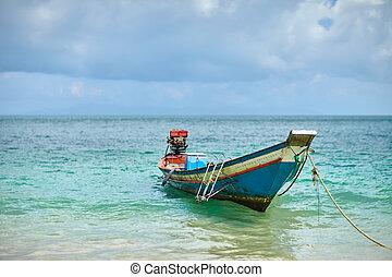 csónakázik, -ban, tropical tengerpart, thaiföld