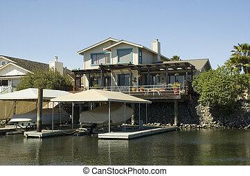 csónakázik, dokk, waterfront, otthon