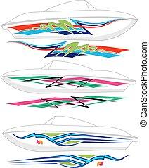 csónakázik, grafika, vonal, :, vinyl, hajlandó