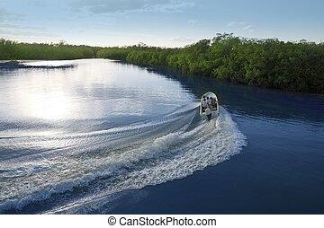 csónakázik hajó, ébred, támasz, lemos, napnyugta, tó, folyó