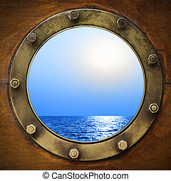 csónakázik, hajóablak