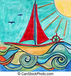 csónakázik, helyett, gyerekek, room., eredeti, drawing.