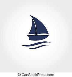 csónakázik, icon., vektor, ábra