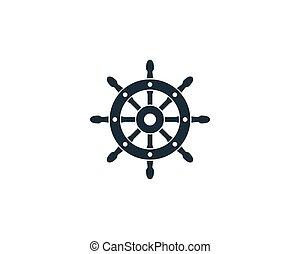 csónakázik, irányít, tervezés, hajó, jacht, ábra, sablon, vektor, jel, ikon