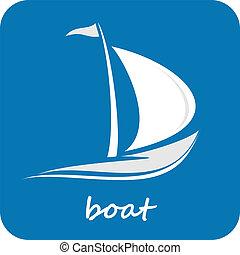 csónakázik, jacht, -, elszigetelt, vektor, ikon