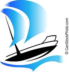 csónakázik, jel