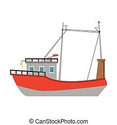 csónakázik, jelkép, hajó, fish