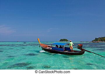 csónakázik, képben látható, a, tenger