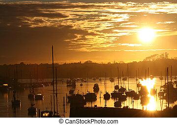 csónakázik, képben látható, a, waterat, napkelte