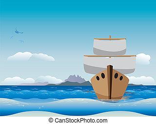 csónakázik, karikatúra, tenger