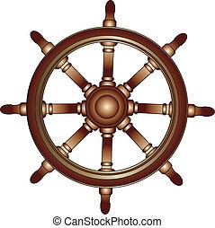 csónakázik, kormánykerék