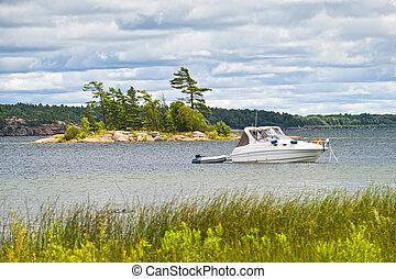 csónakázik, lehorgonyzott, képben látható, tó