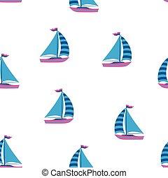 csónakázik, motívum, tengeri, seamless, karikatúra