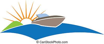 csónakázik, nap