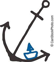 csónakázik, tervezés, hajó, sablon, jel