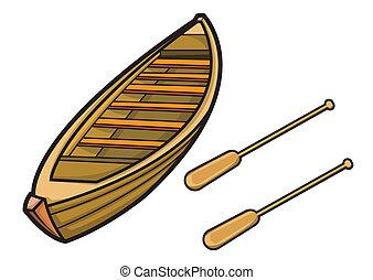 csónakázik, vektor, evez, ábra