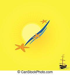 csónakázik, vektor, tengerpart, háttér, ábra