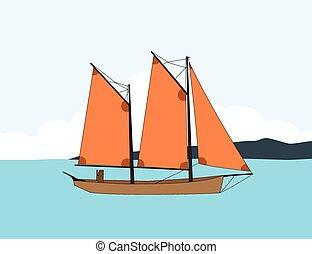 csónakázik, vitorlázás, tenger
